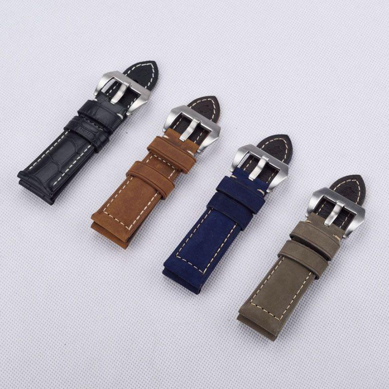a8218b46abac Acheter Cuir Véritable Bracelet Montre Épaisses 22mm 24mm 26mm Bracelet  Crazy Horse Montres Accessoires Ceinture De Luxe Hommes Avec Boucle En  Acier ...