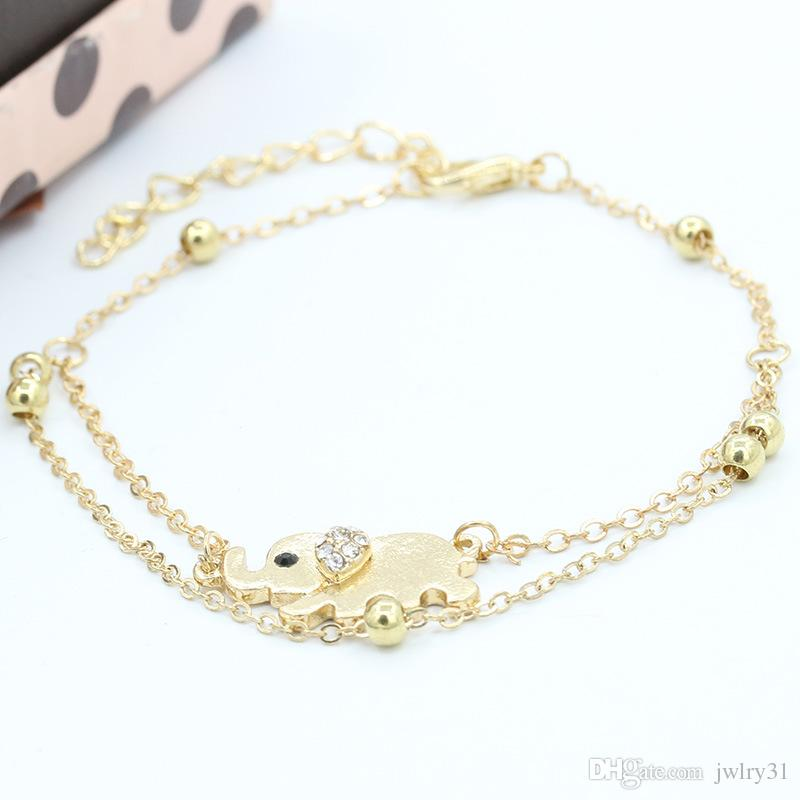 Lucky Elephant Double Foot Chain Crystal Anklets Bracelets Designs Gold Ankle Bracelets For Women Charms Jewelry