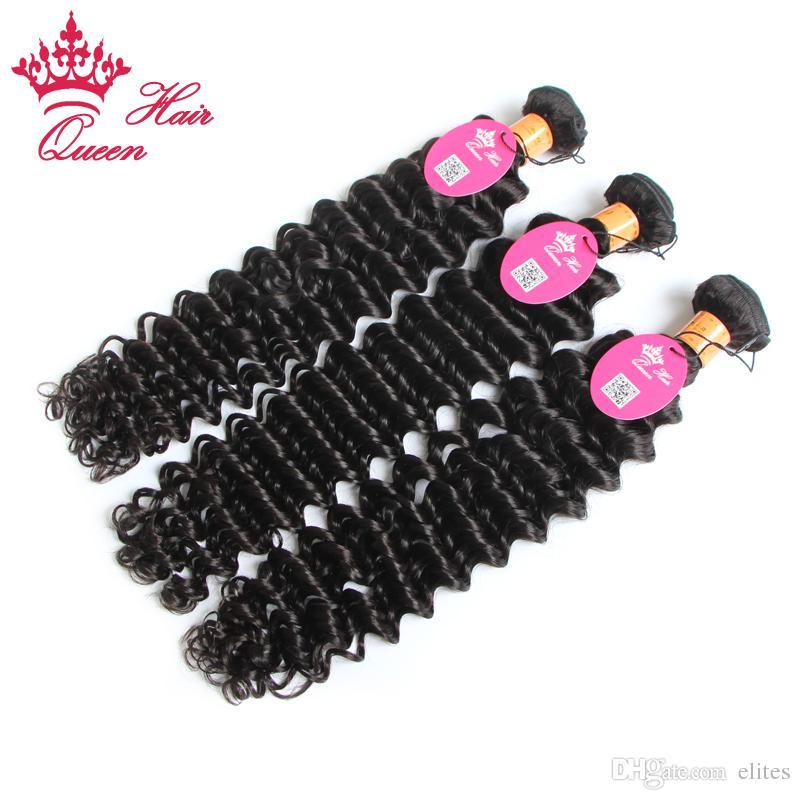 クイーンヘアオフィシャルストアインディアンダイ深い方向転換1bナチュラルバージンの人間の髪の髪織りヘアエクステンション4ピースは染めることができます