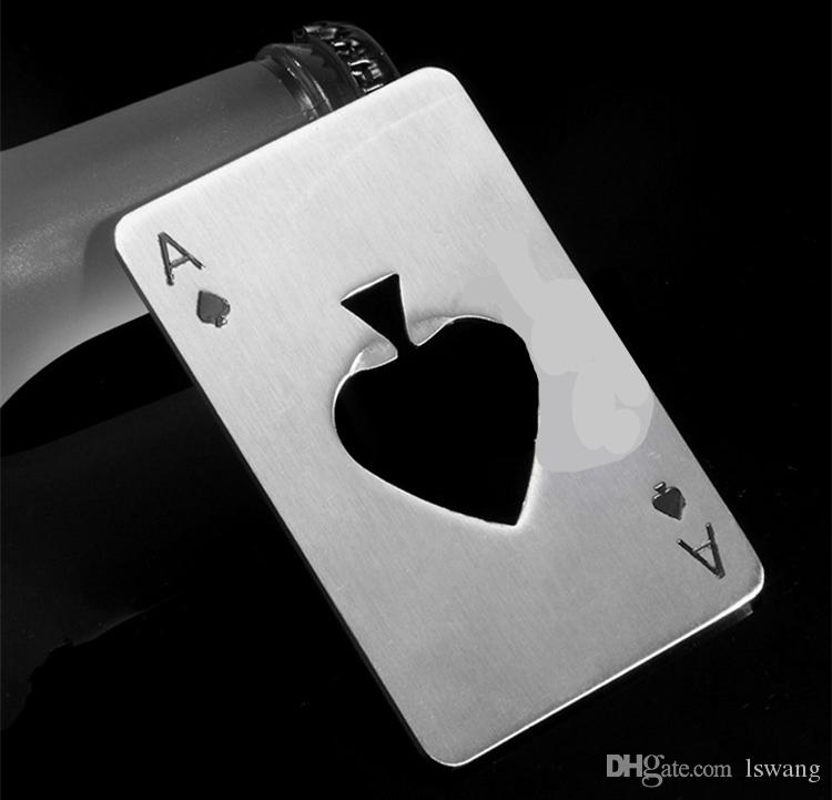 free shipping creative poker card beer bottle opener funny stainless steel credit card bottle opener card of spades bar tool - Credit Card Bottle Opener