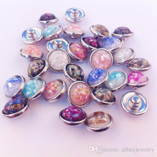 50 unids / lote colores de la mezcla de alta calidad de moda Shell redondo piedra Noosa Chunks Metal Jengibre 12 MM botones a presión para Diy resultados de la joyería
