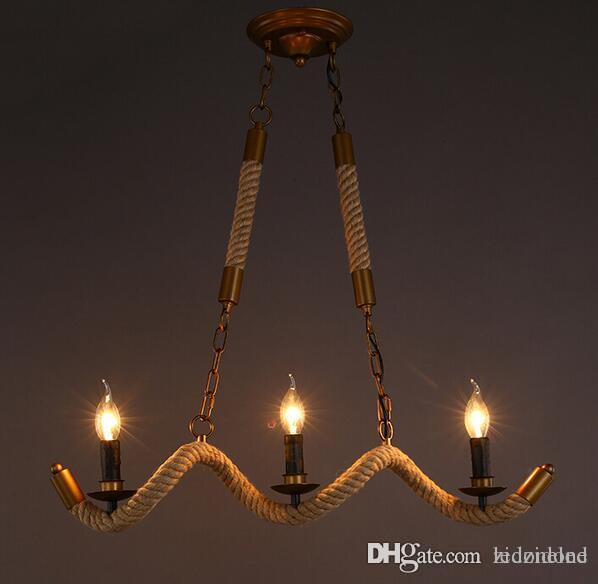 pendant lighting industrial. American Village Vintage Pendant Lighting Industrial Wave Rope Lamp Chandelier Styles Restaurant Guest Room Decoration Ceiling Light