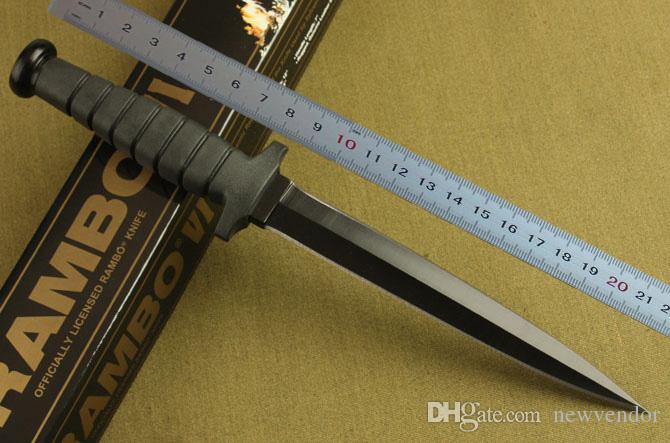 Rambo dupla ação sobrevivência faca reta faca de combate faca de caça rambo facas de acampamento ao ar livre com embalagem original da caixa