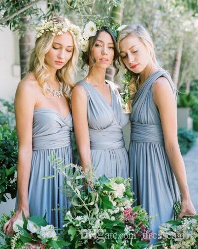 Convertible Styles Chiffon Bridesmaid Dresses Cheap Long Country Style Beach Garden Wedding Party Maid Of Honor Gowns Formal Dresses