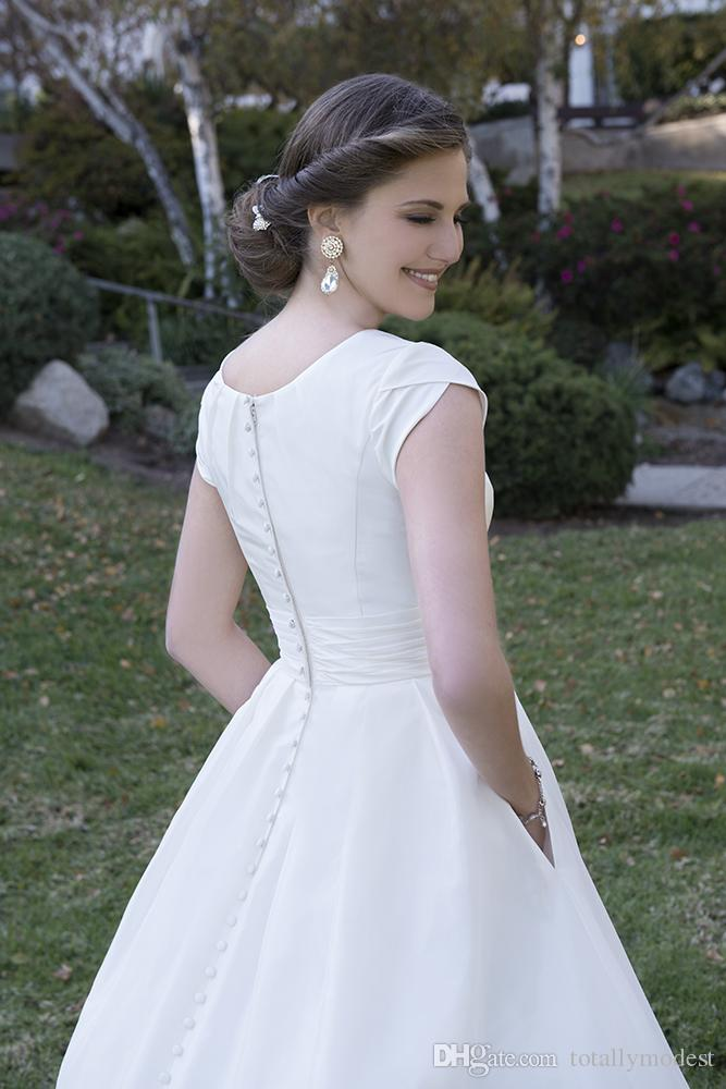 Vintage Simple A-line Satin Modest Wedding Dresses With Cap Sleeves Puffy Buttons Back Formal Garden Country Wedding Gowns Bridal Dress