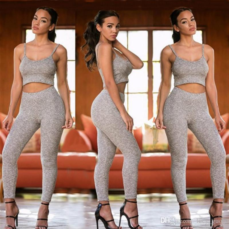 59bbd04c969a 2019 2016 New Styles Two Pieces Outfits Knitted Sexy Rompers For Women  Sleeveless Bodycon Women Long Pants Jumpsuits And Rompers Crop Top Gray From  ...
