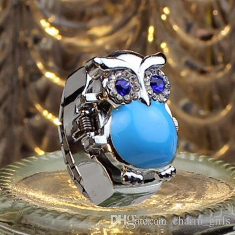 2018 new fashion owl flip The wind restoring ancient ways Ring table crystal gemstone originality individuality Student Ring Watch