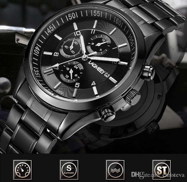 Relogio Masculinos Mens Saatler Siyah Çelik Kuvars İzle Üst Marka Lüks Saat Lagmeey Erkek Kuvars-İzle 2017 Moda Spor Saatı