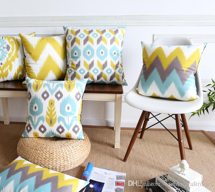 Nordic Geometric Chevron Stripes Cushion Covers Abstract Floral Flower Pillow Cover Sofa Chair Deccorative Velvet Pillow Case Present