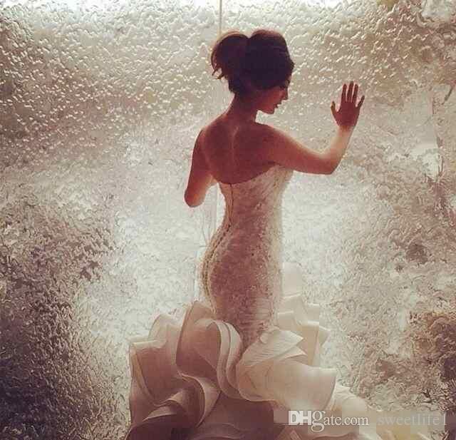 Пользовательские Горячие Продажи Сексуальные Русалки Свадебные платья Кружева Органза Часовня Поезд Кружева Аппликация Свадебные платья Дешевый Плюс Размер