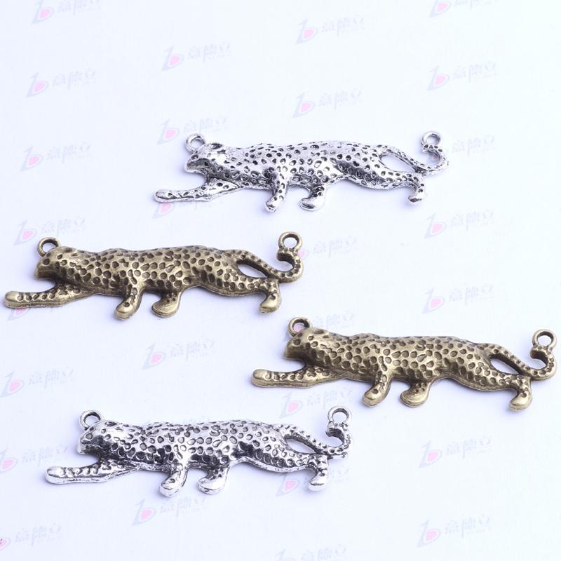 Античное серебро / бронза леопарда бусины европейские подвески Fit европейский шарм браслеты ювелирные изделия DIY ручной работы 57 * 17*5 мм 2453