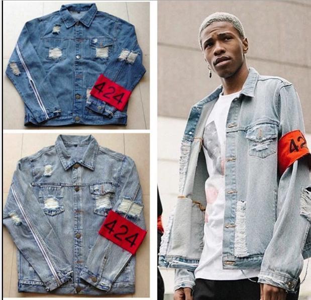 3bd223ad6cb 2016 TOP Spot Red Armband Four Two Four 424 Ripped Hole Distressed Lt Blue  Denim Jacket Streetwear Urban Clothing Outerwear Jacket Denim Sheepskin  Jacket ...