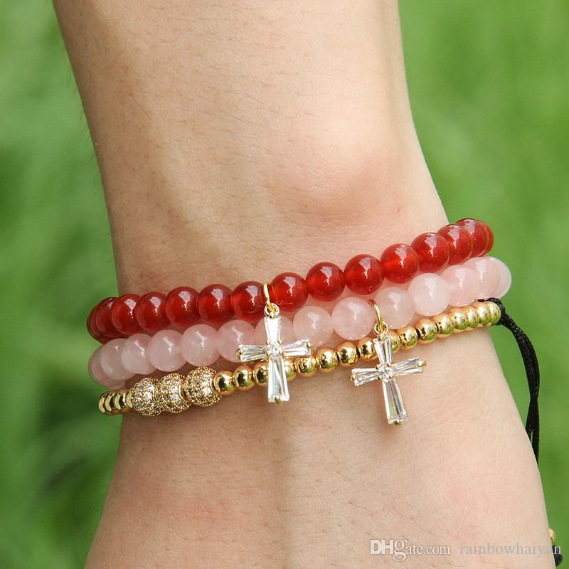 Easter Wholesale 6mm Natural Pink Quatz Crystal Stone Beads with Micro Paved Clear Zircons Spacer Cz Beads Cross Bracelets