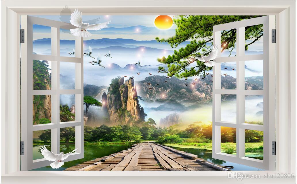 3d papier peint photo personnalisé non-tissé mural décor chinois à l'extérieur de la fenêtre décoration peinture peintures murales 3d papier peint pour murs 3 d