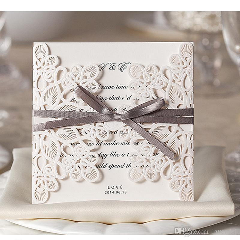 Grosshandel Vintage Spitze Hochzeit Einladungskarten Laser Cut Gold