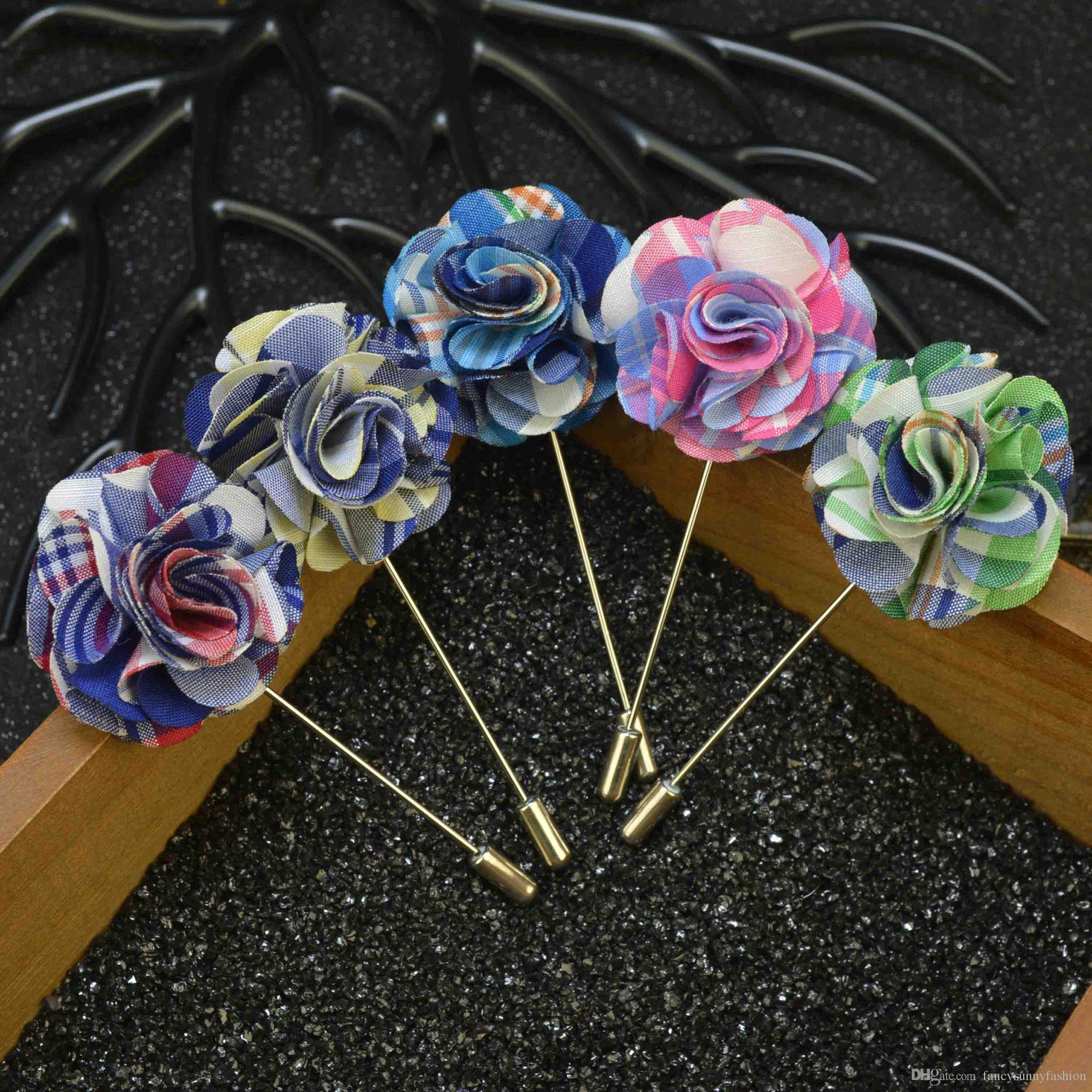 Discount Price Cheap Fabric Flower Brooch Pins Handmade Boutonniere