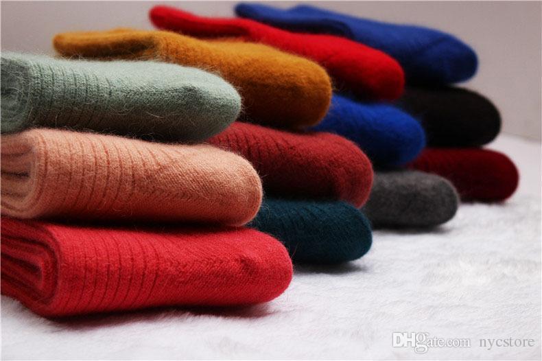 женские толстые шерстяные носки из кролика на осень зиму теплые утолщенные носки из шерсти ягненка термальные сладкие твердые носки для женщин