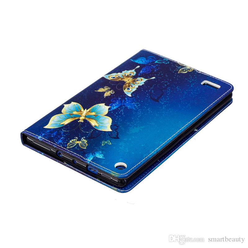 For Fire Kindle 2017 Smart Tablet Case Cover Stand Fashion Tablet Designer PU Leather Cover Golden Butterfly Pattern
