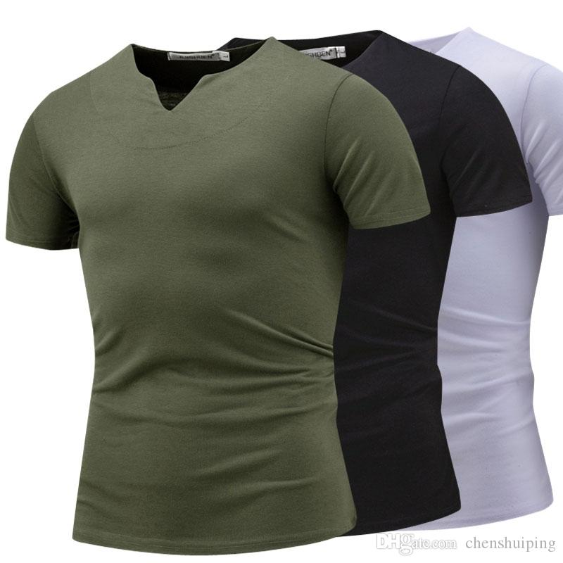 082902e69d5 Fashion Trends Cool Solid Color Men'S V Neck T Shirt Short Sleeve Tops Tees  Men Slim Fit Tshirt Ringer T Shirts Political T Shirts From Chenshuiping