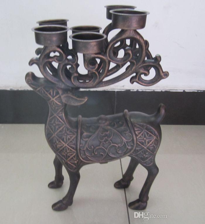 Deer Elk Candleholder with 6 Tealight Candle Holder Cups Aluminum Alloy Metal Tea Light Holder Vintage Animal Ornament Home Table Decoration