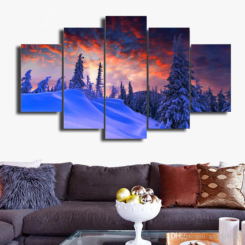 Snow mountain scenery HD Picture Modern Home Wall Decor Canvas Print Painting For House Decorate DH014