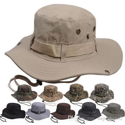 Fashion Camouflage Wide Brimmed Hat Outdoor Fisherman Bucket Hats Camo Wide  Brim Sun Fishing Cap Camping Hunting CS Tactical Gear Xmas Gift Crazy Hats  ... c6a9da674f0