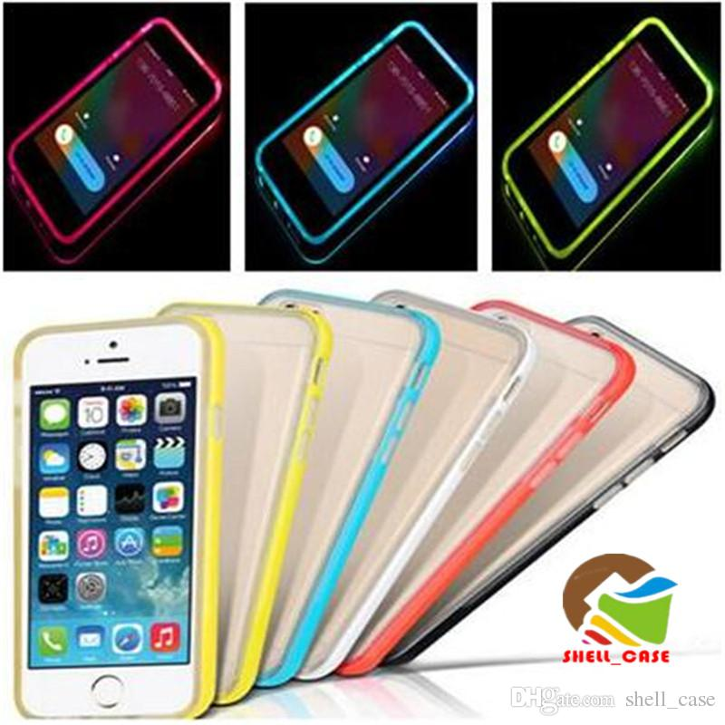 best loved d34e4 96f50 2 in 1 Led Bumper clear tpu back cover Flash Up Lighting Case Ultra Thin  Transport Skin Cover for iPhone 4 5 6 Plus samsung s6 a5 a7