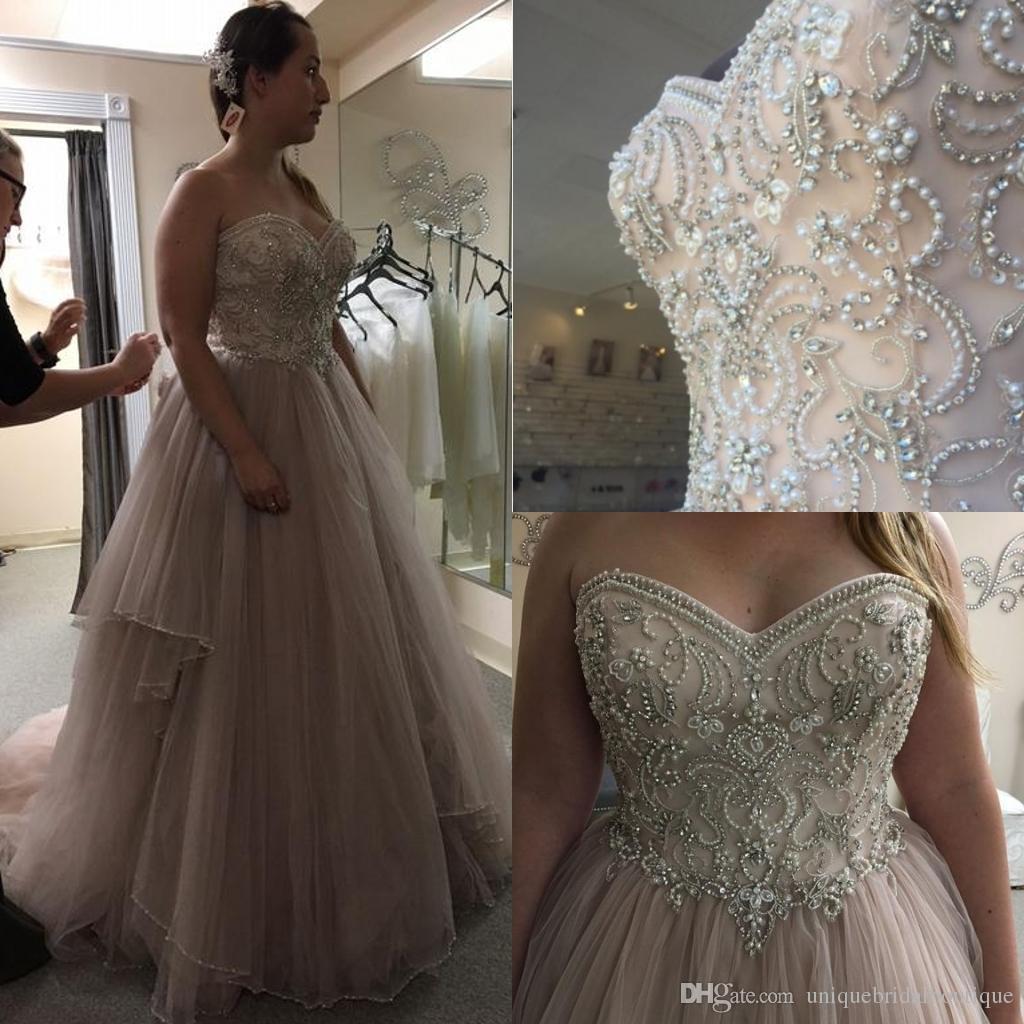 Cheap Plus Size Wedding Dress 2017 Beaded Strapless Bodice: Plus Size Wedding Dresses 2017 Romantic Vestidos De Novia