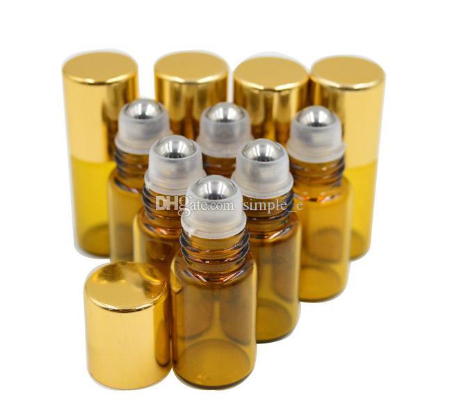 FABRIKA Fiyat TARAFıNDAN DHL / Fedex Ücretsiz Kargo 3 ml Kahverengi Amber Cam Rulo Uçucu Yağ Parfüm Şişesi Paslanmaz Çelik Rulo Top Toptan