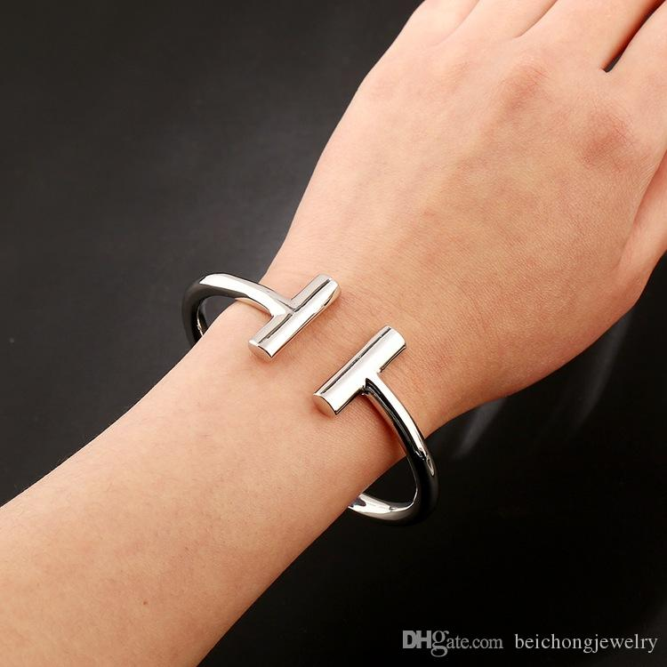 Newest Fashion Silver And Gold 316l Stainless Steel Cuff Charm Pulseras Bracelets & Bangles Custom Wholesale QS1606141501