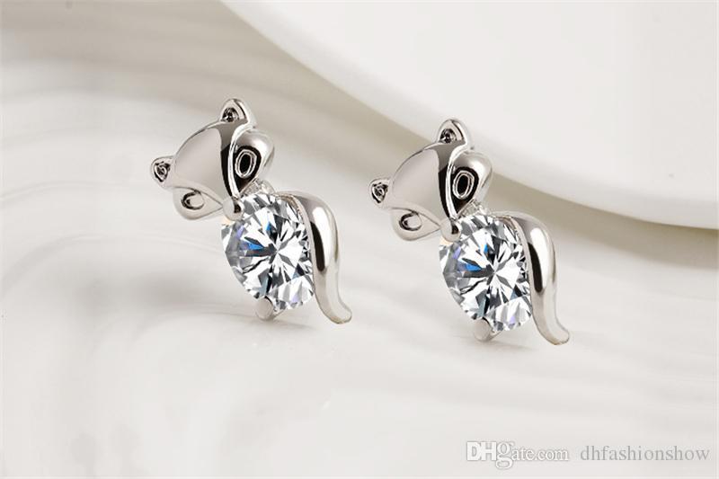 Corea Animal lindo Fox pendientes de plata chapado en oro Crystal Zircon Stud pendientes para mujer joyería de moda boucle d'oreille alta calidad