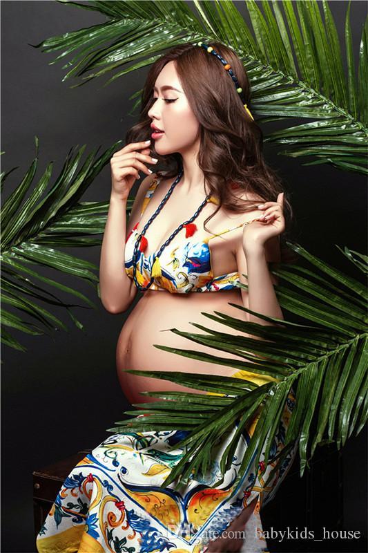 Nueva sesión de fotos vestido de maternidad de maternidad vestido de gasa de maternidad vestido atractivo fotografía apoya para las mujeres embarazadas