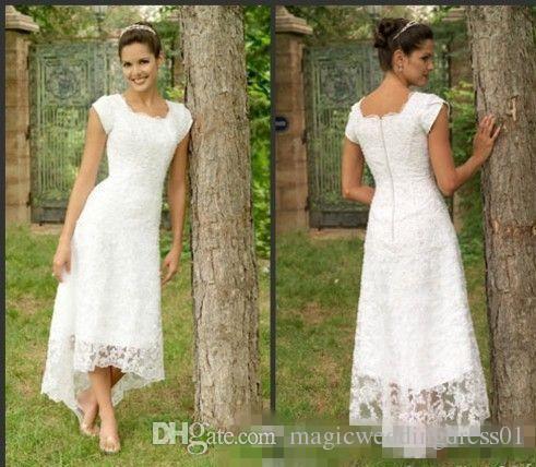 Weißer Tee Länge High Low Lace 2017 Brautkleider U Neck Cap Sleeves Modest Brautkleider Elegante Falten Custom Made Beach Brautkleider