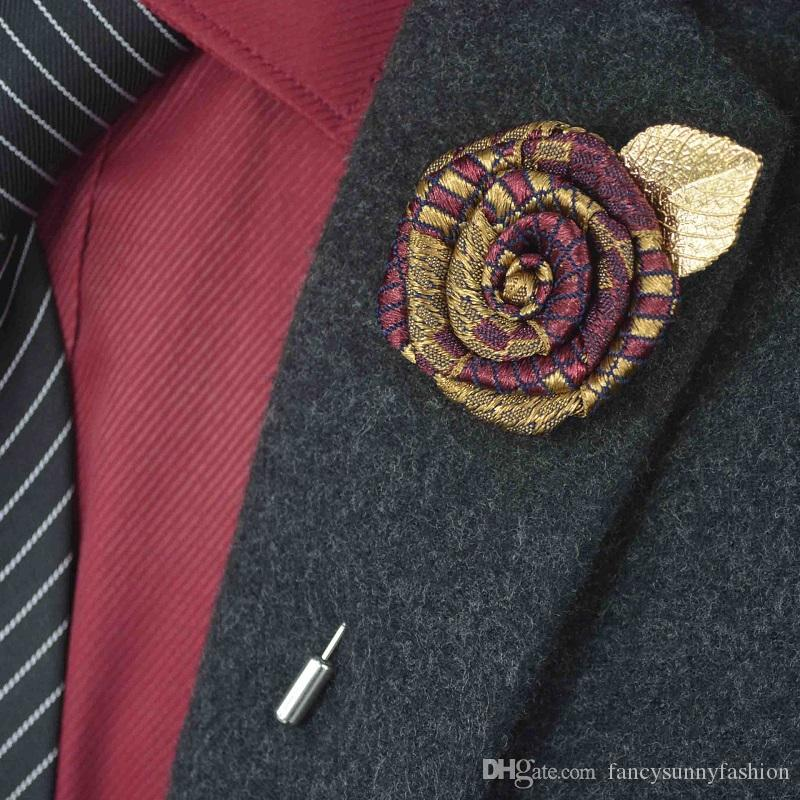 db880dcc9199b 2019 Rose Brooch Lapel Pins Handmade Boutonniere Stick With Speckle Stripe Ribbon  Flowers For Gentleman Suit Men Accessories Wholesale Cheap From ...