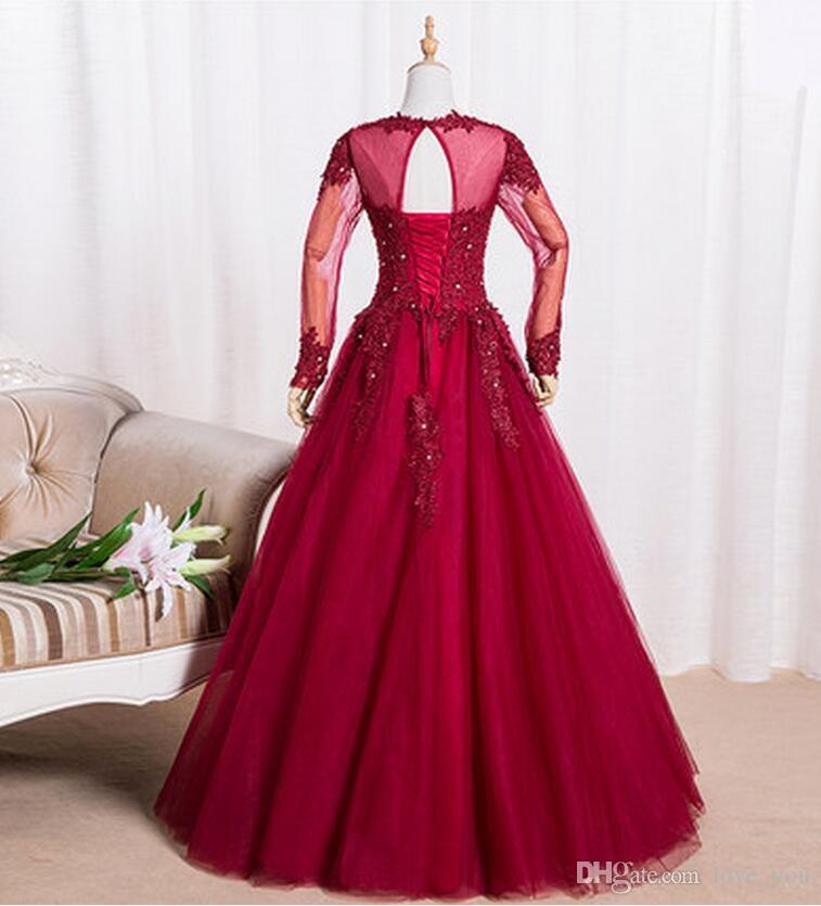 Yeni anne gelin elbise mücevher zemin uzunlukta aplike ile süpürgelik uzun kollu tül a-line anneler elbiseler parti abiye giyim