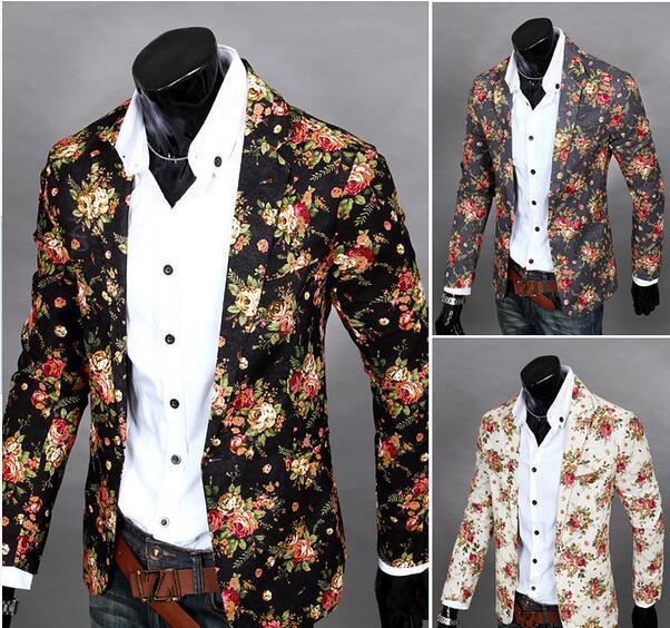 Kişiselleştir Çiçek Blazers İçin Erkekler Yaka Yaka İnce Tek Düğme Erkekler Parlak Suit Blazer Pamuk Casual Parti Erkekler Suits J160438