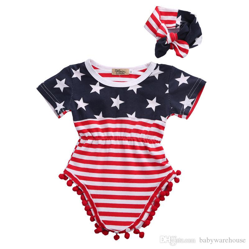 d2359a728 Newborn Baby Girl Clothes Short Sleeve Tassel Romper The National Flag Printing  Jumpsuit + Headband 2Pcs Kids Outfits Girls Clothing Set