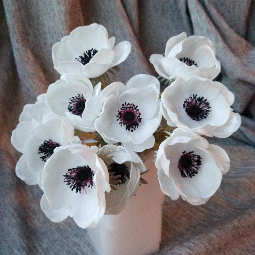 2018 Real Touch White Anemones Flowers Pu Artificial Anemones