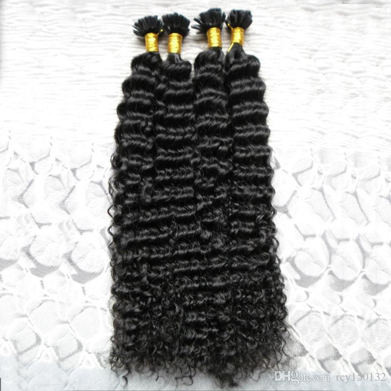 Moğol kinky kıvırcık saç 200g Keratin İnsan Fusion Saç Tırnak U İpucu 100% Remy İnsan Saç Uzantıları