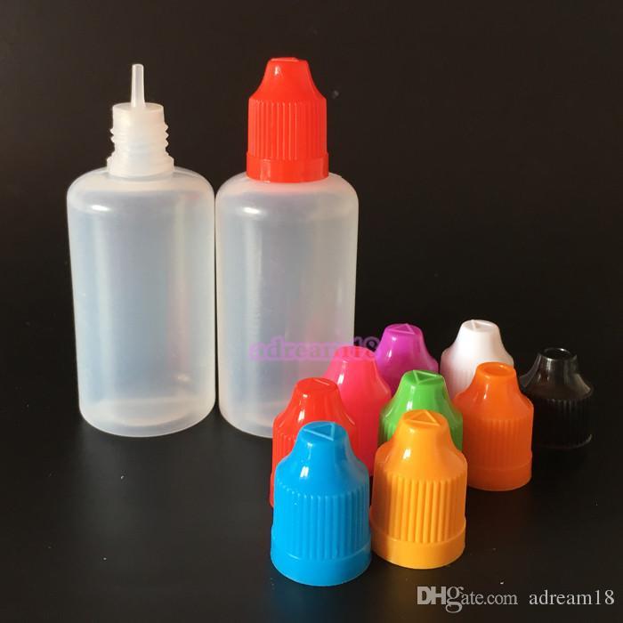 50ML PE di plastica del contagoccia Caps Bottiglie prova di bambino Consigli LDPE E Vapor Cig Liquid Succhi 50ML container bottiglie di ricarica