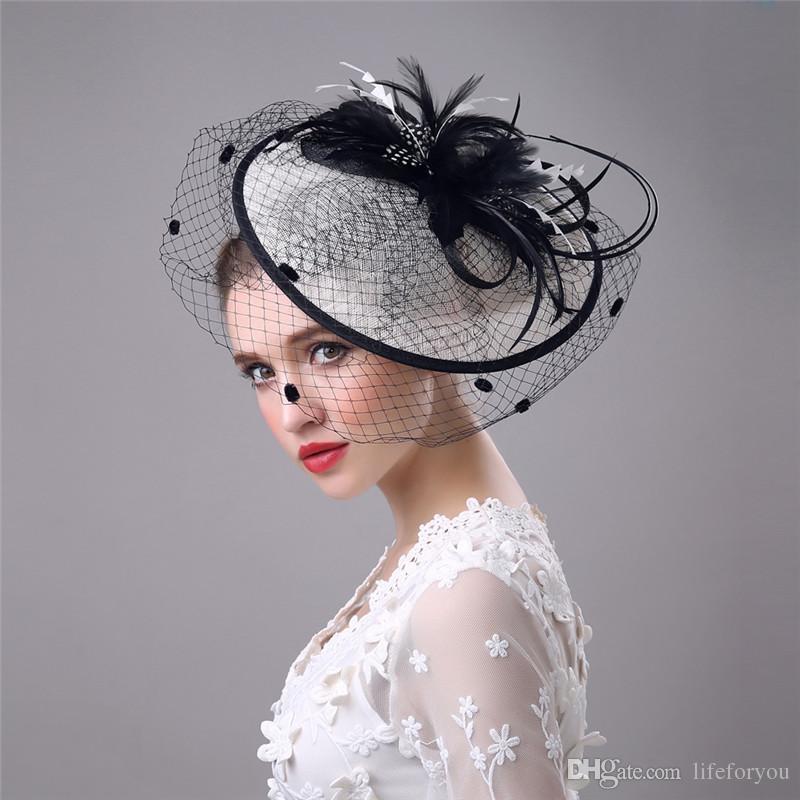 Vintage Birdcage Bridal Hats Flower Wedding Bride Veil Birdcage Tulle Hair Accessories Feather Hats Decoration For Women Bridesmaid Wedding