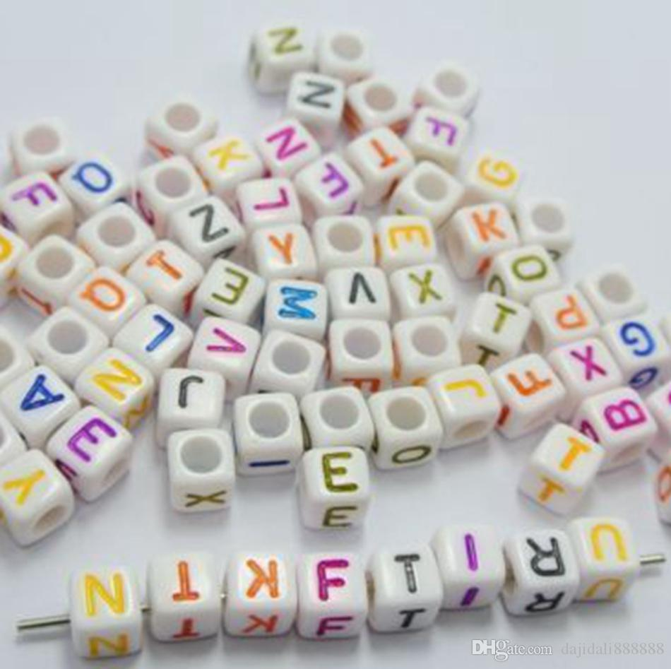 Hot ! WHITE bead mixed Alphabet /Letter Acrylic Cube Beads 6x6mm Big hole Beads