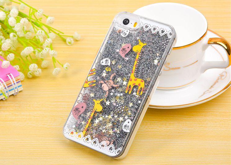 giraffe Floating Glitter Star Quicksand Liquid PC Case cartoon 3D Bling Phone Case Cover For IPhone 7 6 6plus 5s samsung S6 S7