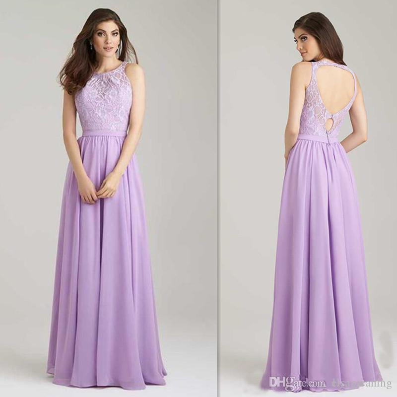 Lavender Bridesmaids Dresses Lace Top Wedding Guests Party Gowns A ...