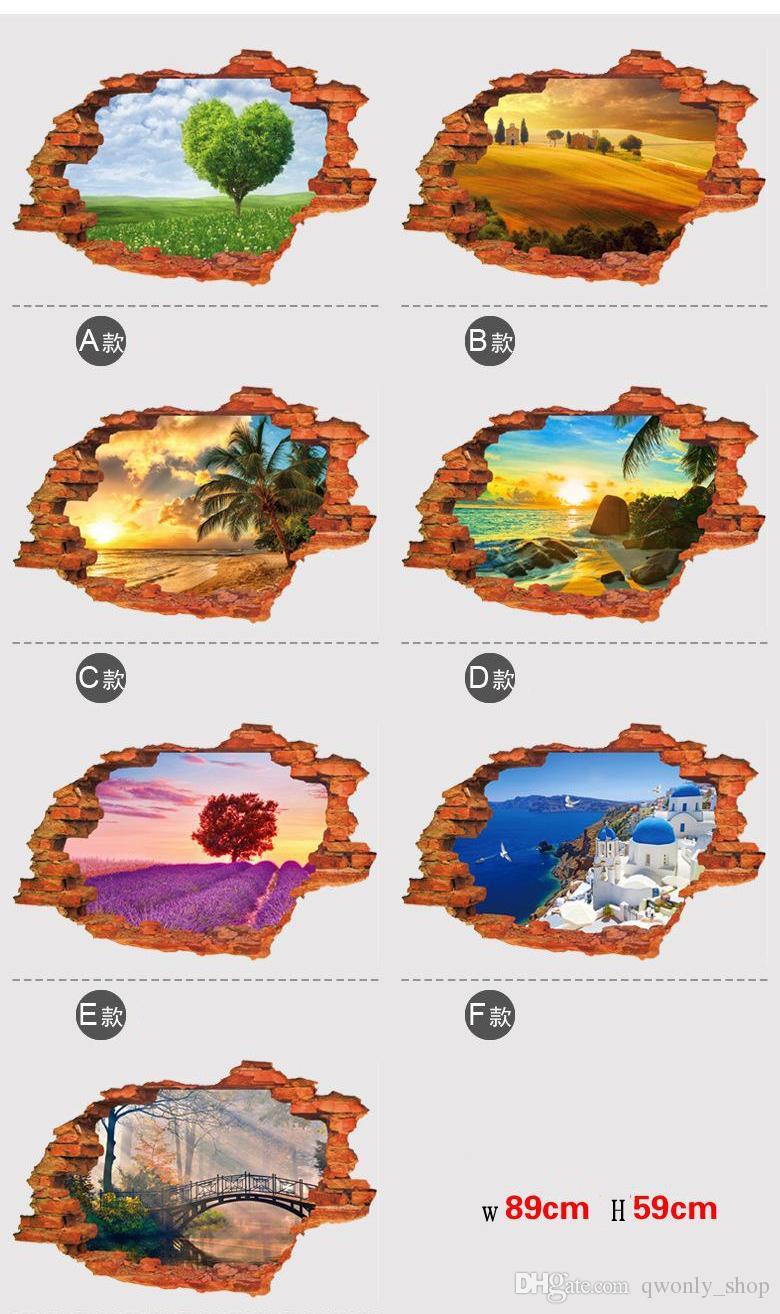3D Broken Wall Decal Sunset Scenery Seascape Island Coconut Trees Household Ornamento può rimuovere gli adesivi murali