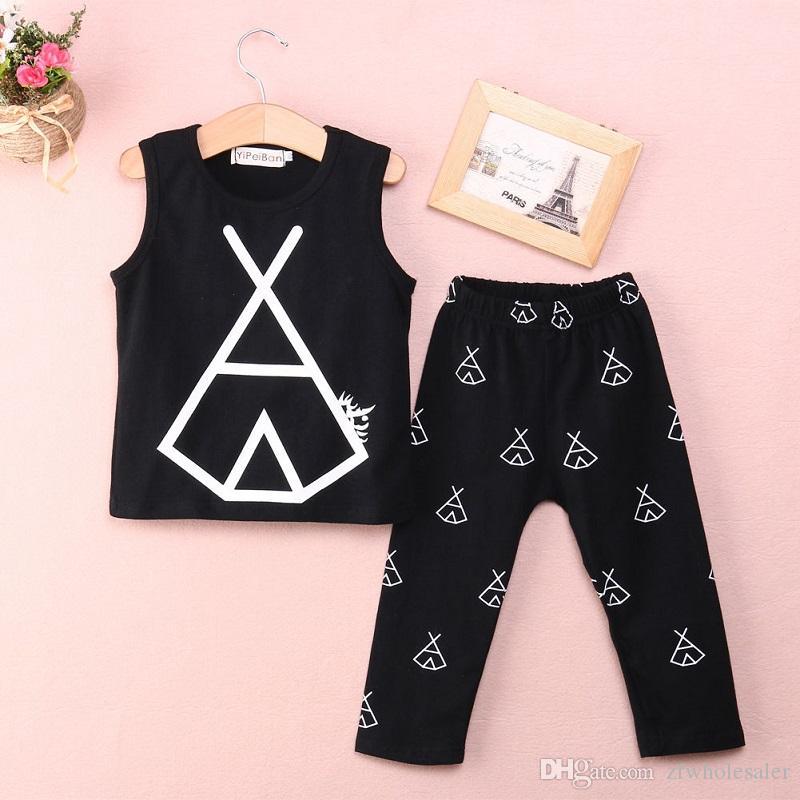 Vêtements de bébé Boutique Vêtements Noir Enfants Set Tout-petits Outfit enfants Summer Set Vest + pantalon long cool fille garçon Costume du nouveau-né Survêtement