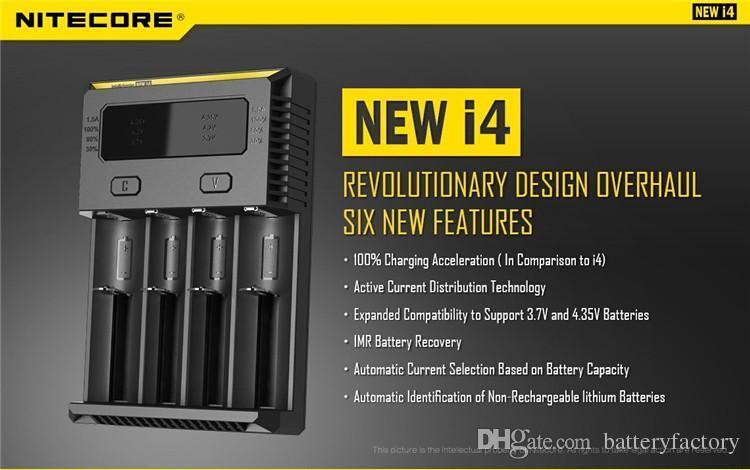100 % 정통 Nitecore NEW I4 Intellicharger 유니버셜 1500mAh 최대 출력 전자 충전기 18650 18350 26650 10440 14500 용 배터리