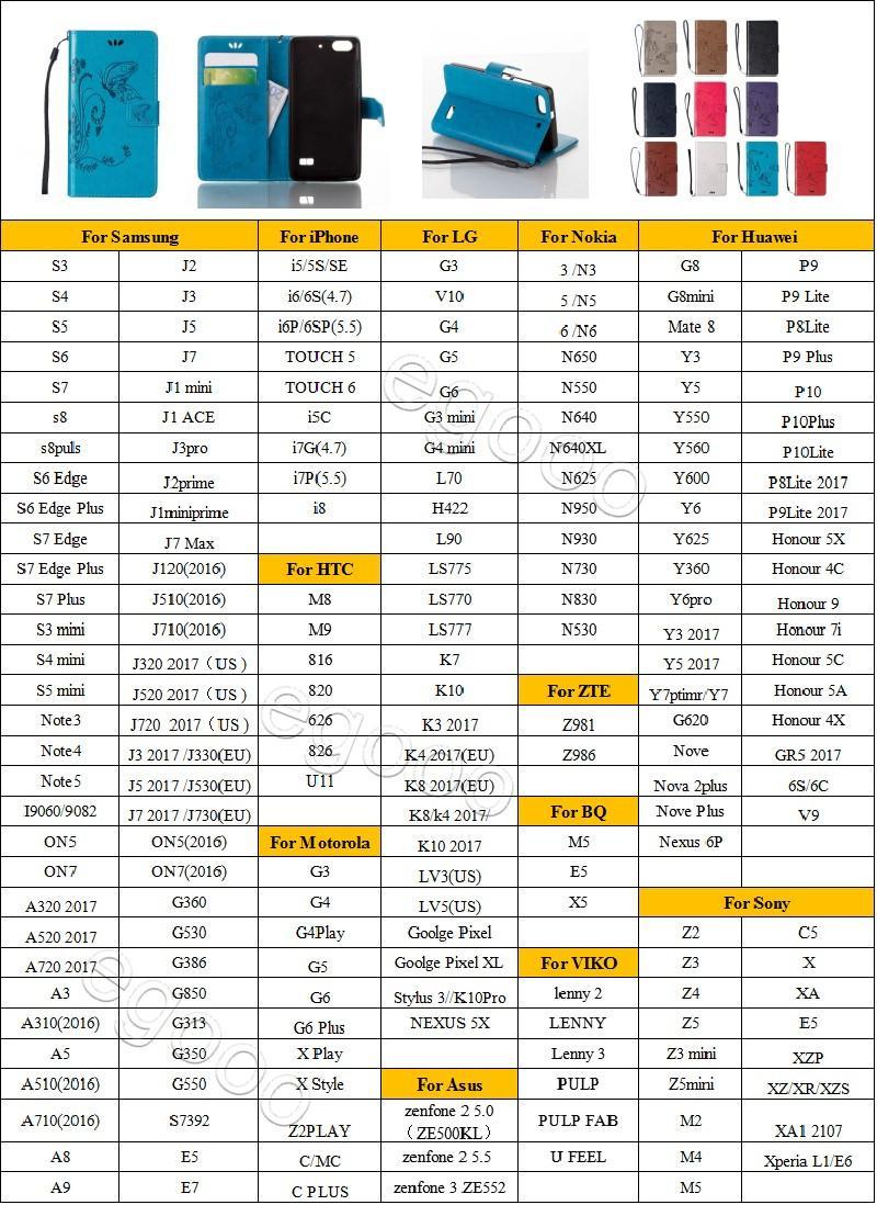 Kabartmalı Kelebek Çanta Kılıf Eklemek Kartları Telefon Deri Kılıf Kapak Için Samsung S6 S7 Kenar Artı J1 ACE S3 S4 S5 Mini