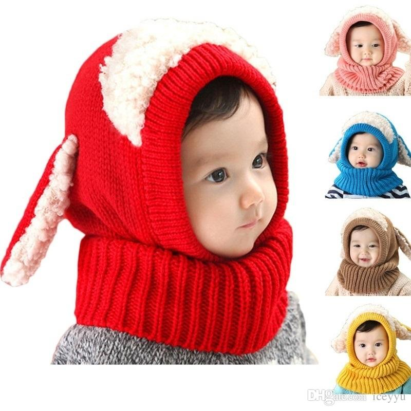 f615bd2c824 Novelty Wool Hat Cute Child Puppy Cashmere Ears Beanie Shawl Hat One ...