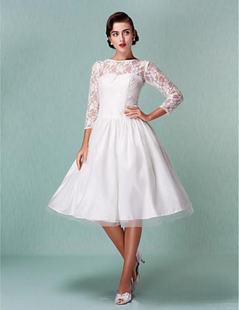 Nouvelle venue robe de mariée courte robes de mariée manches trois quarts W002 pure moderne longueur au genou dentelle robes de mariée princesse pas cher